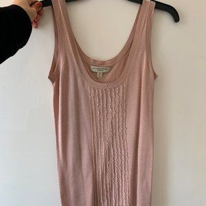 Burberry Pink Ribbed Silk Top (S)